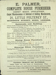 Advert For E. Palmer, Complete House Furnisher